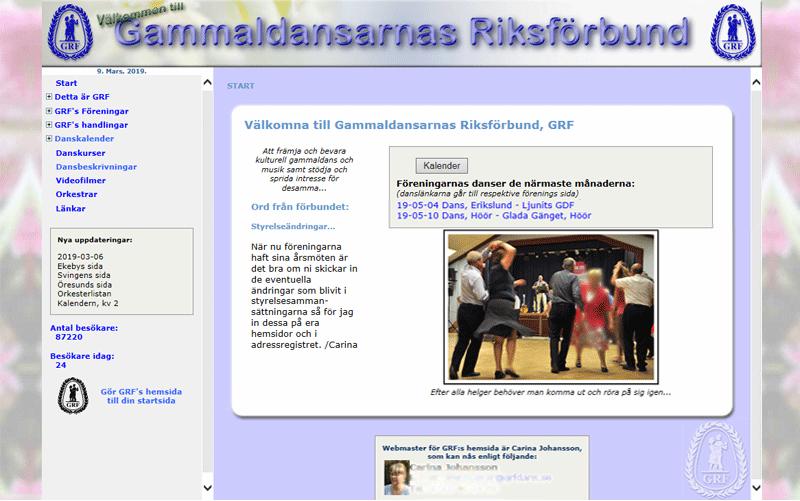 Gammaldansarnas riksförbunds (GRF) hemsida.