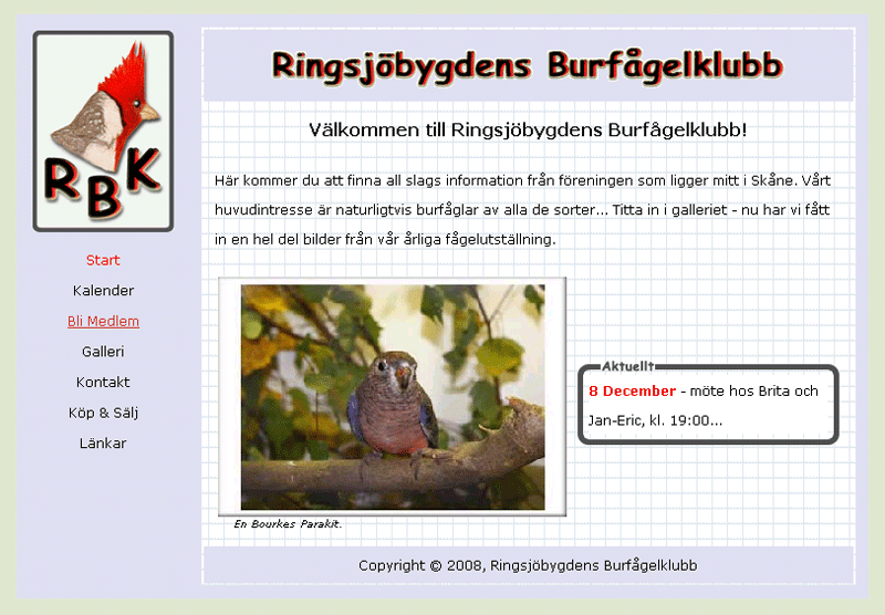 Ringsjöbygdens Burfågelklubbs hemsida.