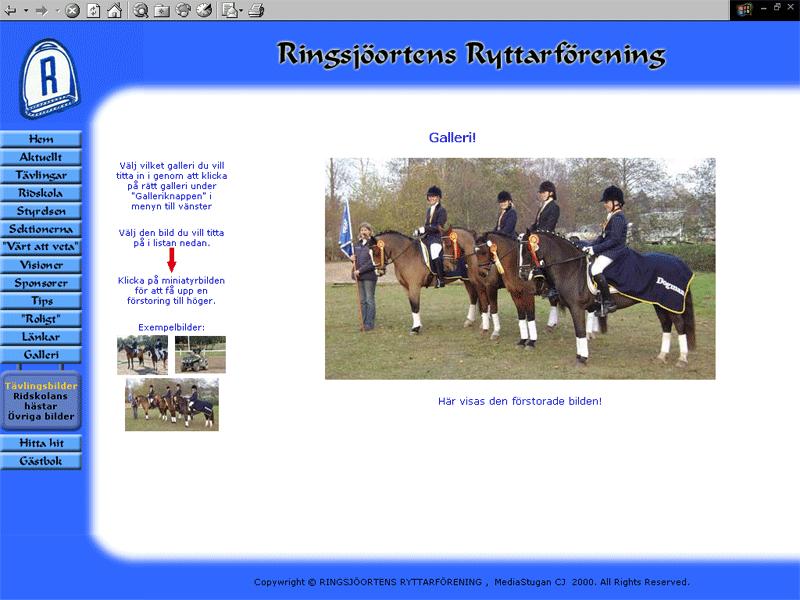 The old website of Ringsjöortens Ryttarförening