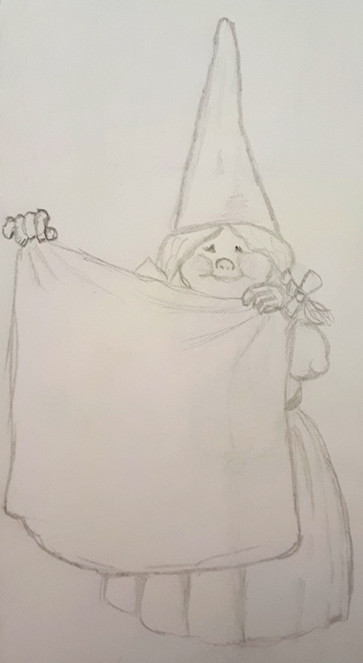 A gnome hanging the laundry