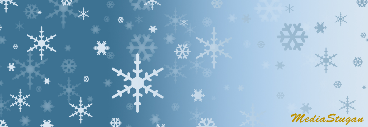 Many snowflakes on a blue background